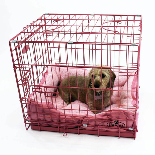 Pink foldable Dog Cage with bed